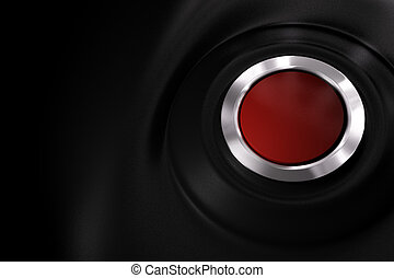 customizable red power button over a black plastic background with copy space