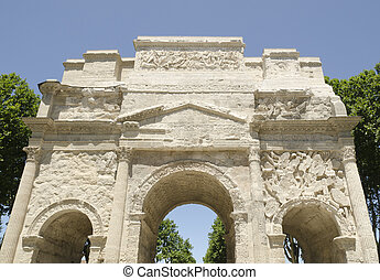front of roman arch of triumph in Orange city, France