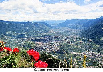 Mountains and valleys in South Tyrol, Italy. View to the spa...