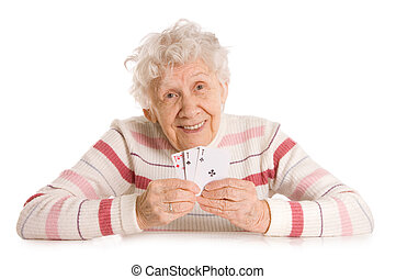 The old woman with cards