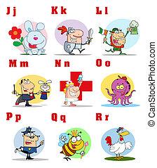 Joyful Alphabet Collection - Joyful Cartoon Alphabet...