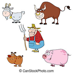 Farm Animals With Farmer Set - Farm Animals Cartoon...