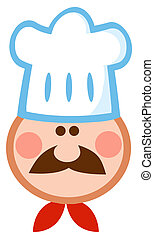 Chef Face Wearing A Hat - Cartoon Chef Man Face Mascot