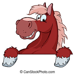 Red Horse Mascot Cartoon Head
