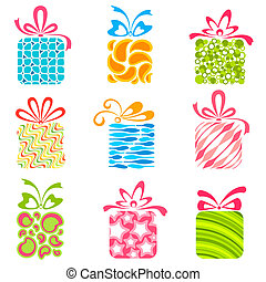 Colorful Gift Box - illustration of set of colorful gift...