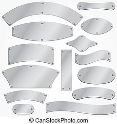 Vector signboards plates silver set