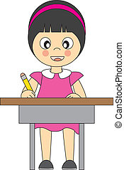 girl in school. Writing in the table
