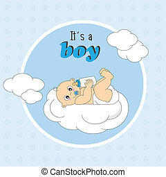 baby lying on a cloud - Baby boy arrival announcement card....
