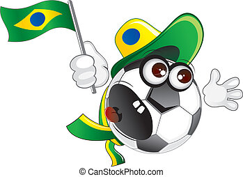 Brazil Fan - Brazil soccer fan shouting- vector