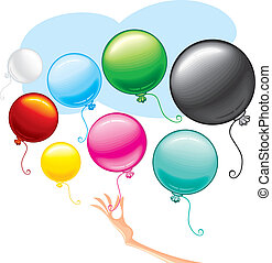 Cute Balloons - Vector Colorful Balloons set, colors...