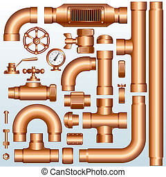 Brass Pipeline parts - Collection of detailed Brass Pipeline...