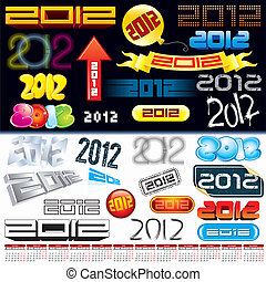 2012 tags - 2012 new year labels, icons, logos, tags and...