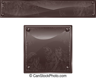 Black Panels - Black brushed surface signs, vector...
