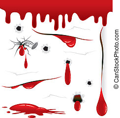 Bloody - Blood drops, splashes, wounds, all vector elements...