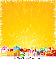 Birthday Wish - Festive background with Motley Gift Boxes -...
