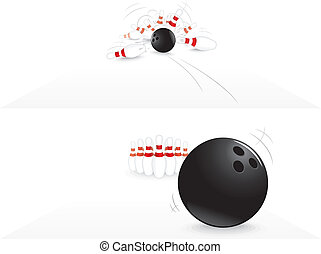 Bowling strike - Vector Illustration of Bowling strike
