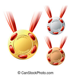 Gold, silver and bronze medals - Vector illustration of...