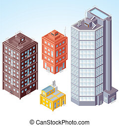 Isometric Buildings 1 - Detailed isometric vector Buildings,...