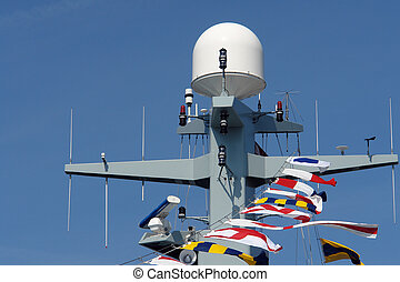 Radar and communication tower on a navy frigate - Close...