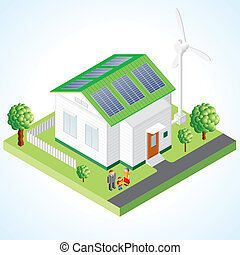 Green House vector concept, small house with ecological...