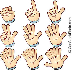 Counting Hand - Counting Cartoon hand, vector illustration