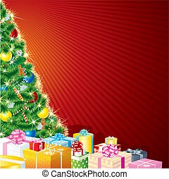 Christmas Theme - Christmas Tree and Gifts with copy space
