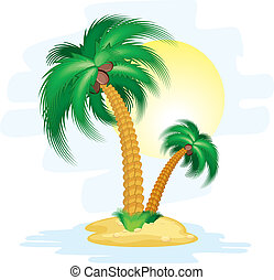 Cartoon island - Illustration of stylized cartoon island...
