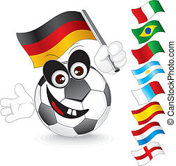 Soccer ball - Funny soccer ball with various flags for hand