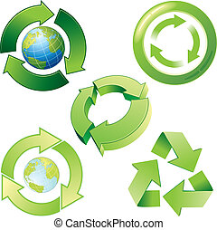 Recycling - Vector stylized recycling icons and symbols