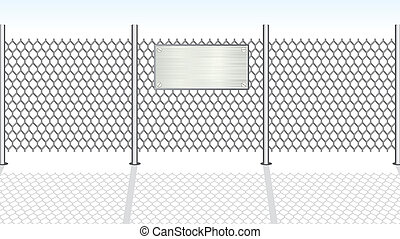 Chainlink Fence - Chain link fence with empty metallic sign...
