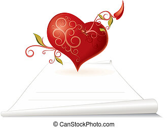 Love Letter - Creative heart with floral arrow and blank...