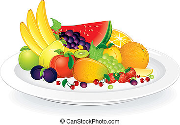 Plate with Fruits - Fruit plate with fresh citrus fruits,...