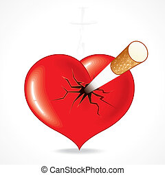 Heart with Cig - Smoking kills, vector Illustration of red...