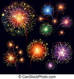 Fireworks set - Brightly Colorful Vector Fireworks and...