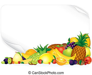 Fruit Poster - Blank paper poster with ripe fruits - vector...
