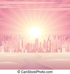 Pink City - Welcome to Dream city, vector background