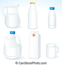 Milk packages - Various packages for dairy milk products,...