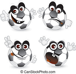 Funny Ball - Cartoon football ball emoticons