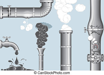 Industrial accidents..Chimney with Smog and steam, damaged...