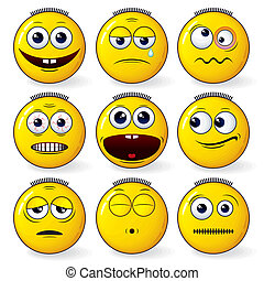 Fun Smileys - Set of cool yellow smiley expression