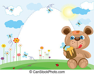 Summer background with bear