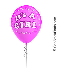 Its a girl party balloon - Pink party balloon celebrating a...