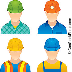 Workers - Various Worker icons: home worker, road builder,...