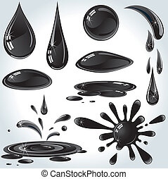 Oil Drops - Set of various Oil or Petroleum Drops