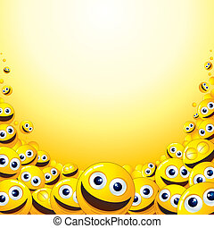 Smiley Backdrop - Background with heap of Yellow Smileys -...