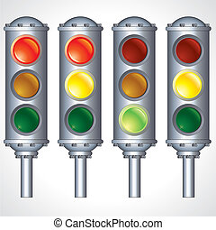Traffic Lights - Chrome Metal Traffic Lights signals,...