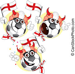 England cartoon ball - Cartoon football character emotions-...
