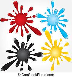 Splashes of blood, oil, water, dye. Vector illustration