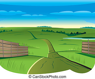 Country Road - Vector illustration of Summer Curvy Country...