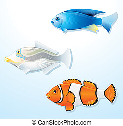 Tropical Fishes s2 - Set of Exotic Tropical Fishes, vector...